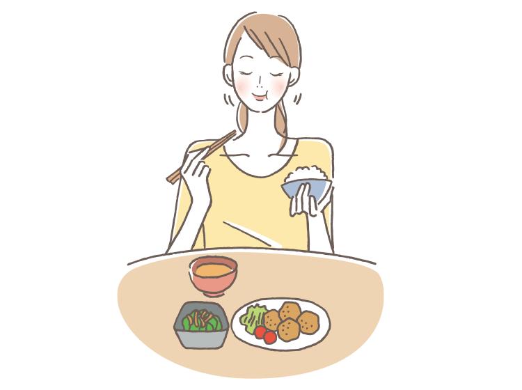 食事をしている女性イラスト