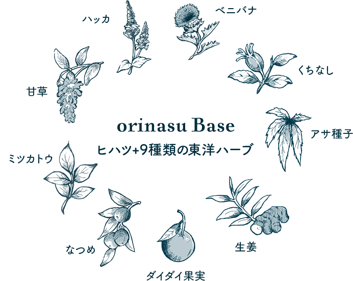 ヒハツ+9種類の東洋ハーブ/ベニバナ・くちなし・アサ種子・生姜・ダイダイ果実・なつめ・ミツカトウ・甘草・ハッカ